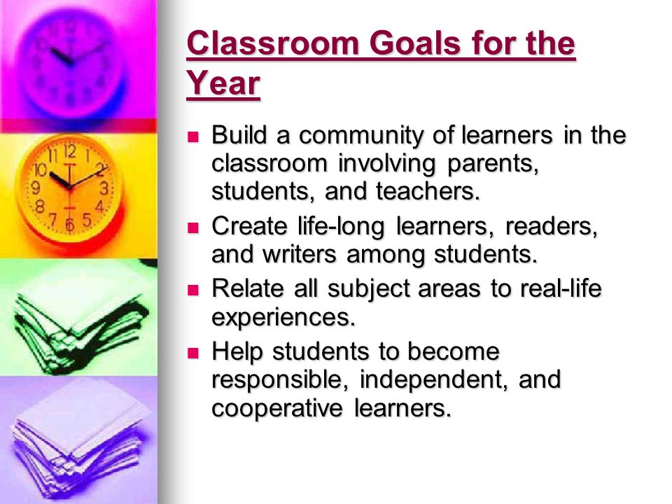Classroom Goals for the Year