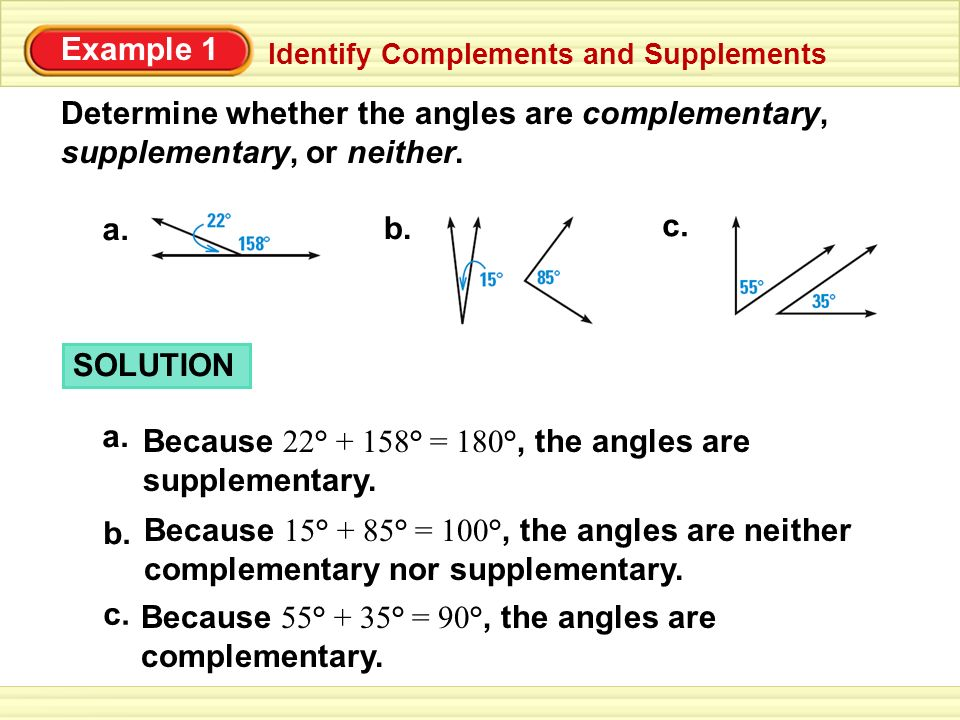 Because 22° + 158° = 180°, the angles are supplementary.