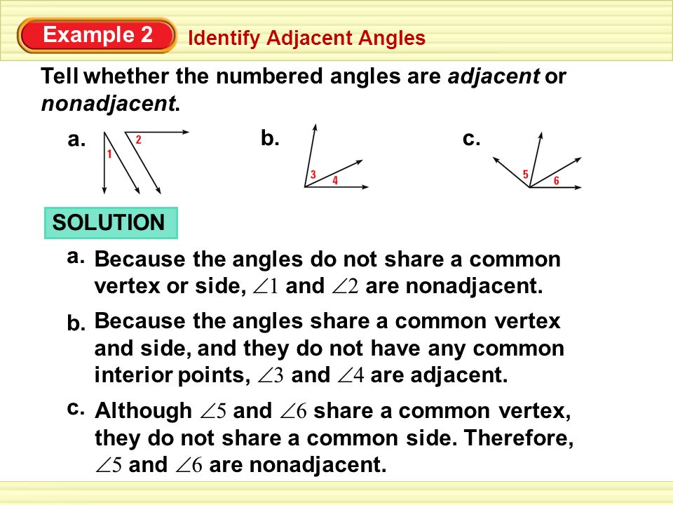 Tell whether the numbered angles are adjacent or nonadjacent.