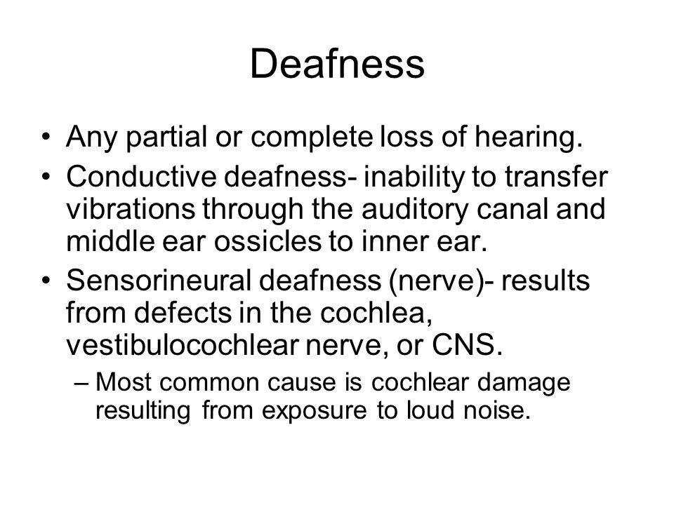 Deafness Any partial or complete loss of hearing.