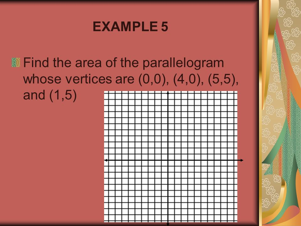 EXAMPLE 5 Find the area of the parallelogram whose vertices are (0,0), (4,0), (5,5), and (1,5)