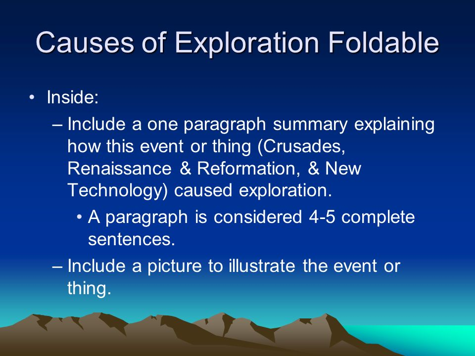 Causes of Exploration Foldable