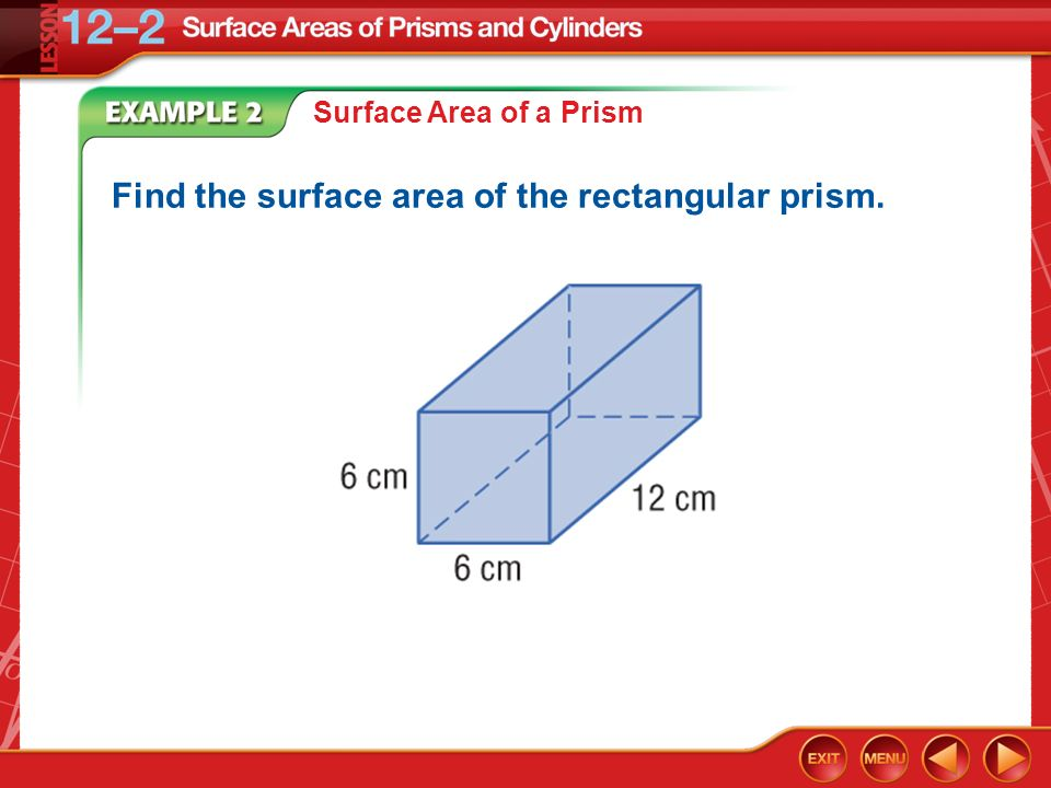Find the surface area of the rectangular prism.