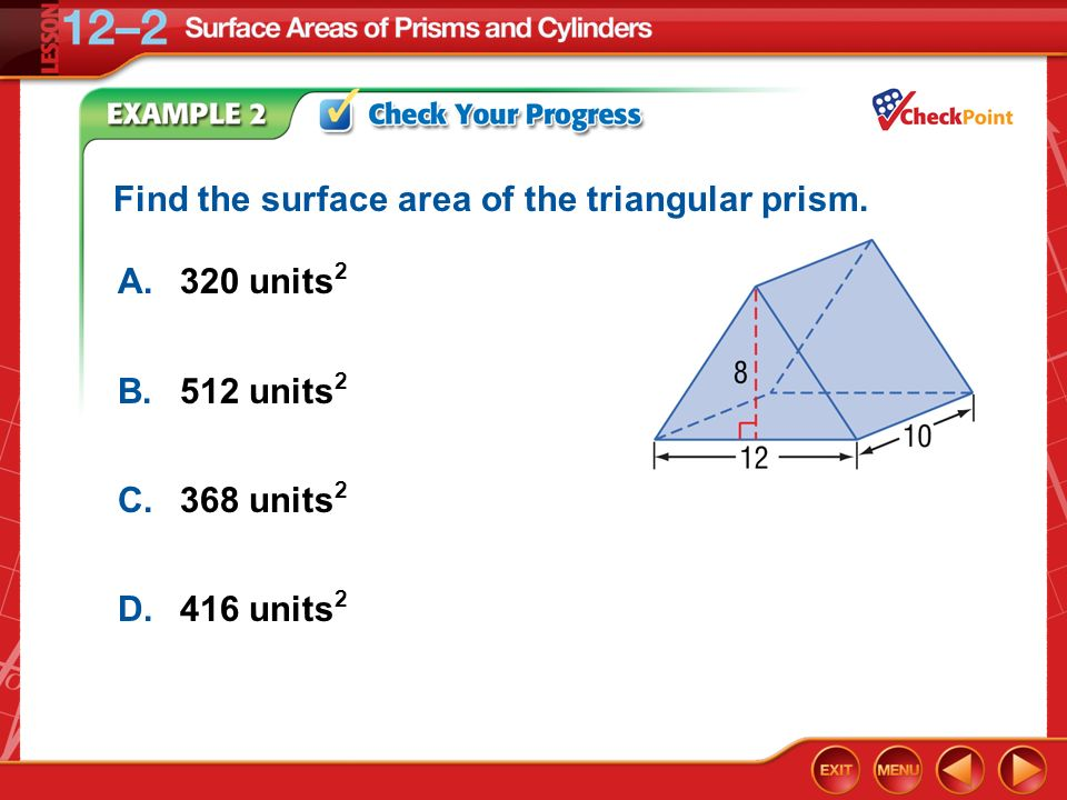Find the surface area of the triangular prism.