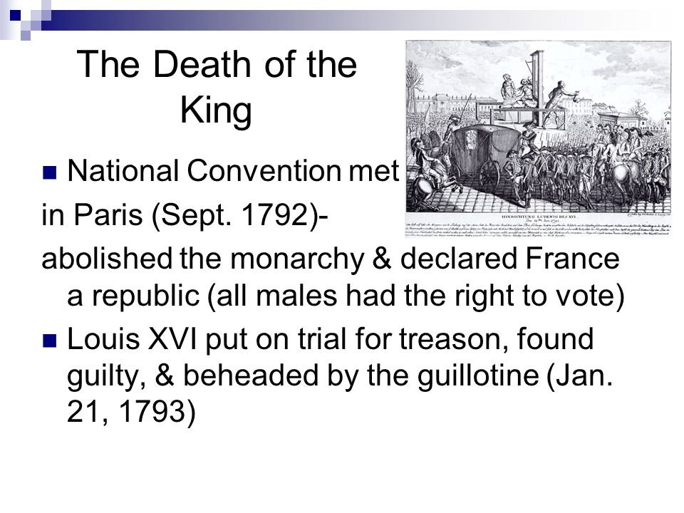 The Death of the King National Convention met in Paris (Sept. 1792)-