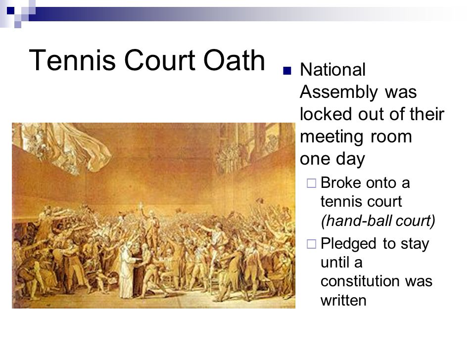 Tennis Court Oath National Assembly was locked out of their meeting room one day. Broke onto a tennis court (hand-ball court)