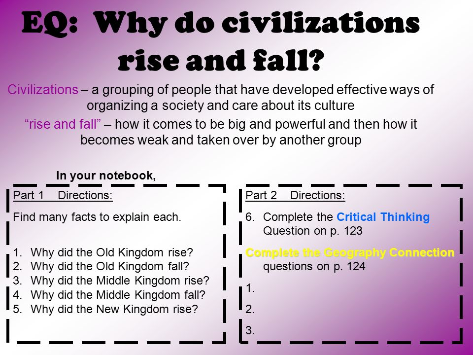 EQ: Why do civilizations rise and fall