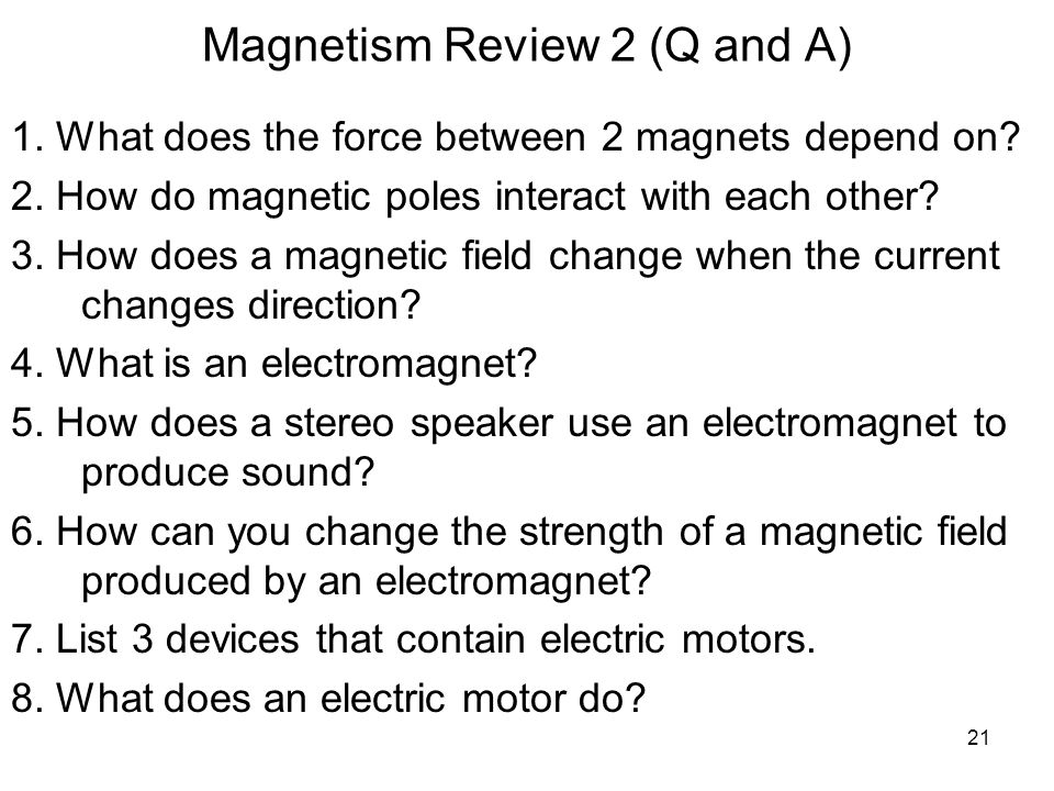 Magnetism Review 2 (Q and A)