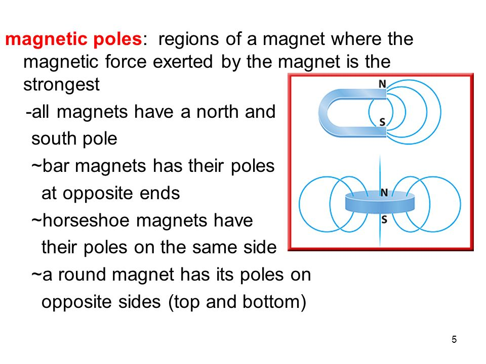 magnetic poles: regions of a magnet where the magnetic force exerted by the magnet is the strongest