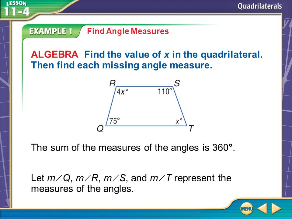 The sum of the measures of the angles is 360°.