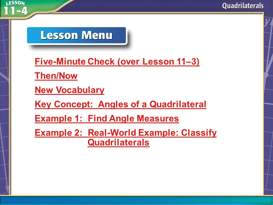 Five-Minute Check (over Lesson 11–3) Then/Now New Vocabulary