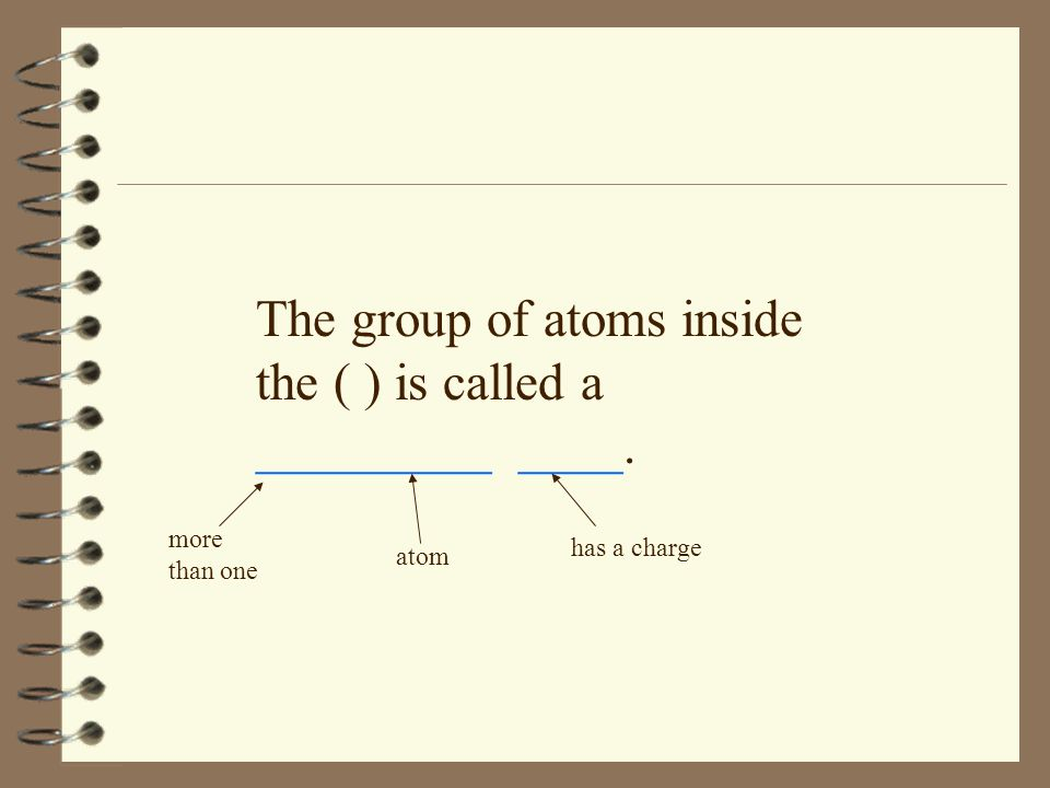 The group of atoms inside the ( ) is called a _________ ____.