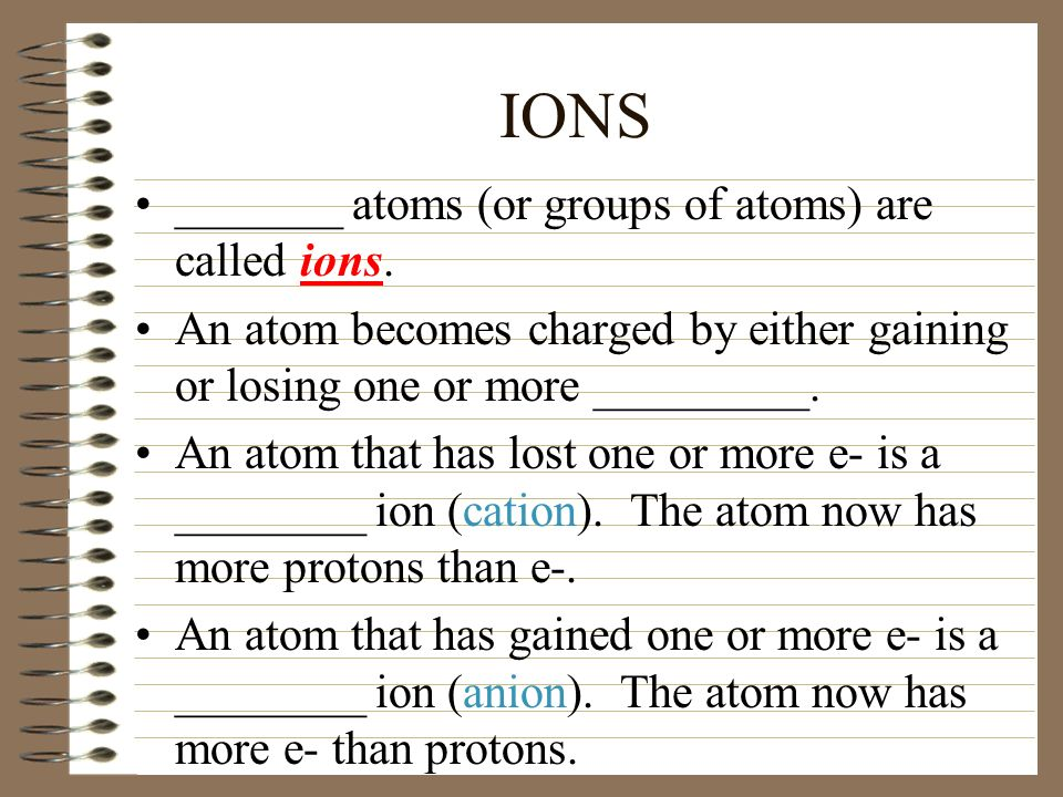 IONS _______ atoms (or groups of atoms) are called ions.