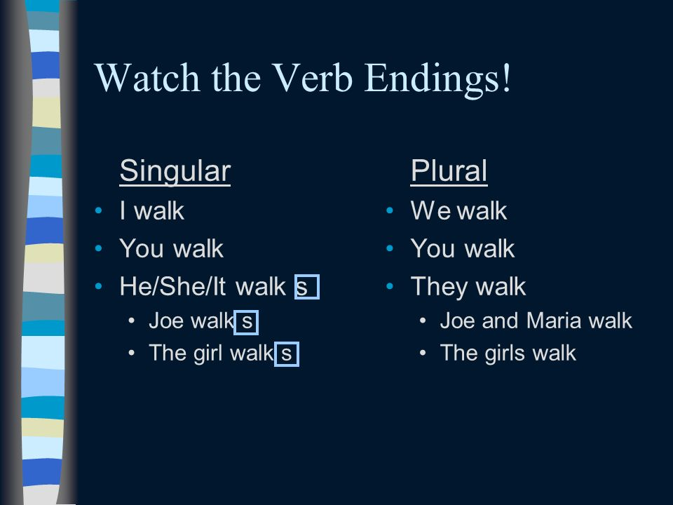 Watch the Verb Endings! Singular Plural I walk You walk