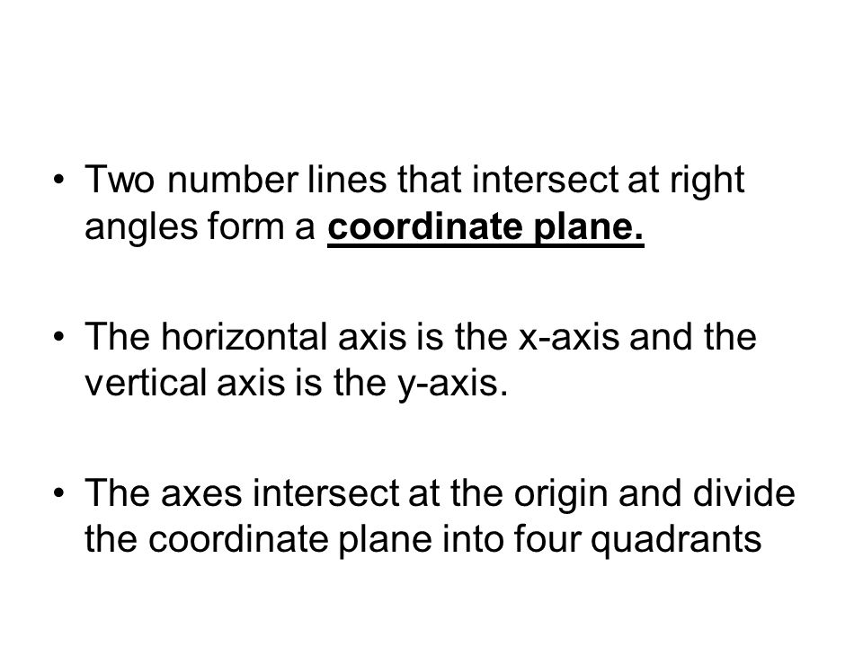 Two number lines that intersect at right angles form a coordinate plane.