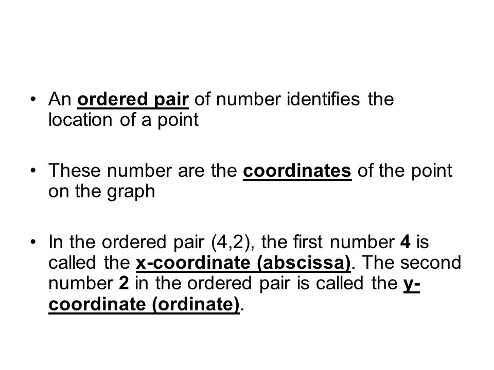 An ordered pair of number identifies the location of a point