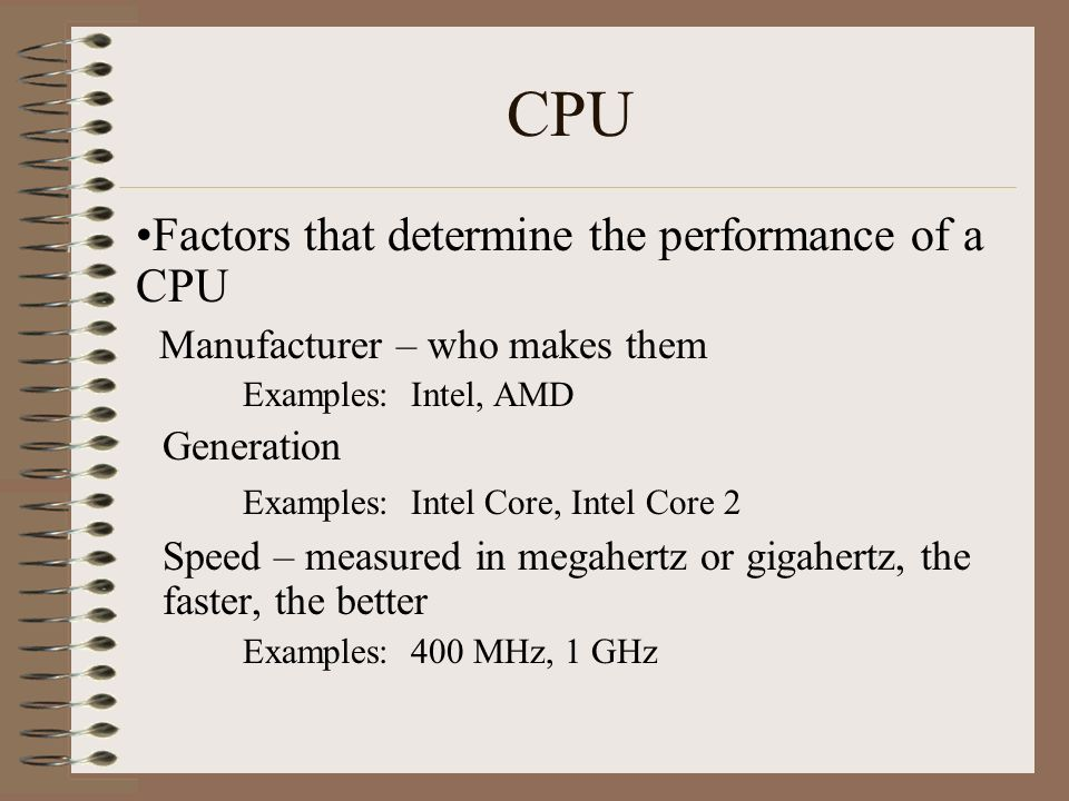 CPU Factors that determine the performance of a CPU