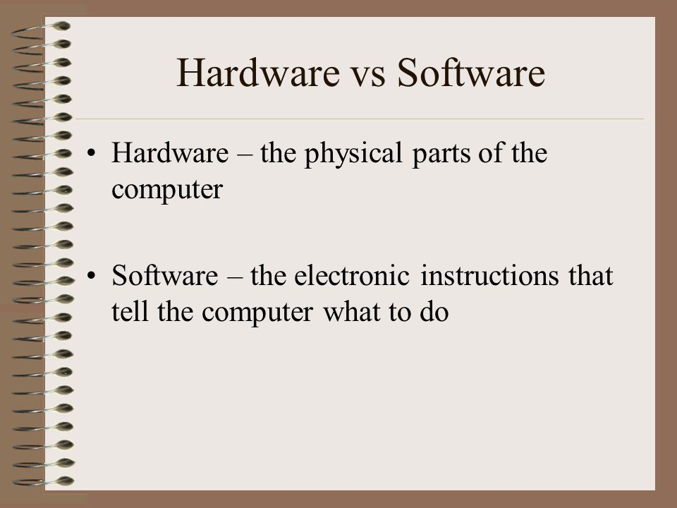 Hardware vs Software Hardware – the physical parts of the computer