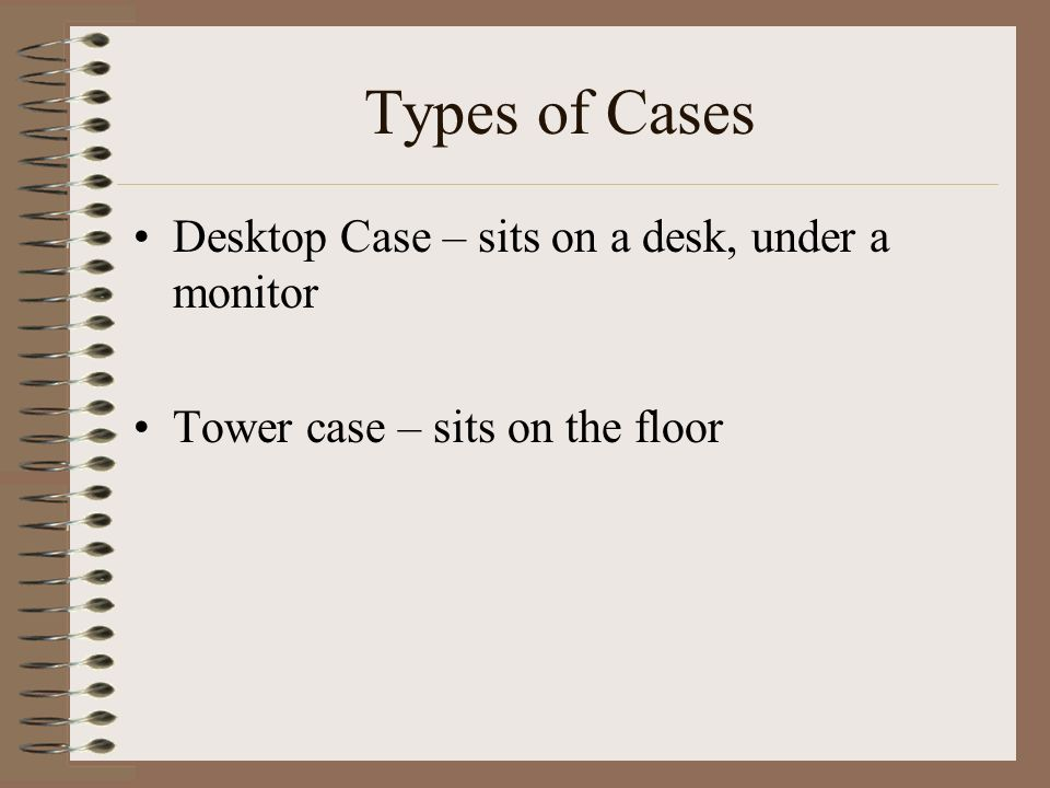 Types of Cases Desktop Case – sits on a desk, under a monitor