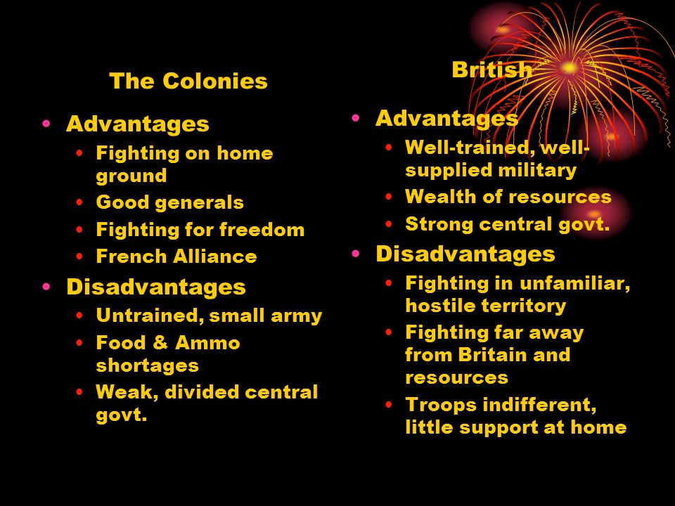 British The Colonies Advantages Advantages Disadvantages Disadvantages