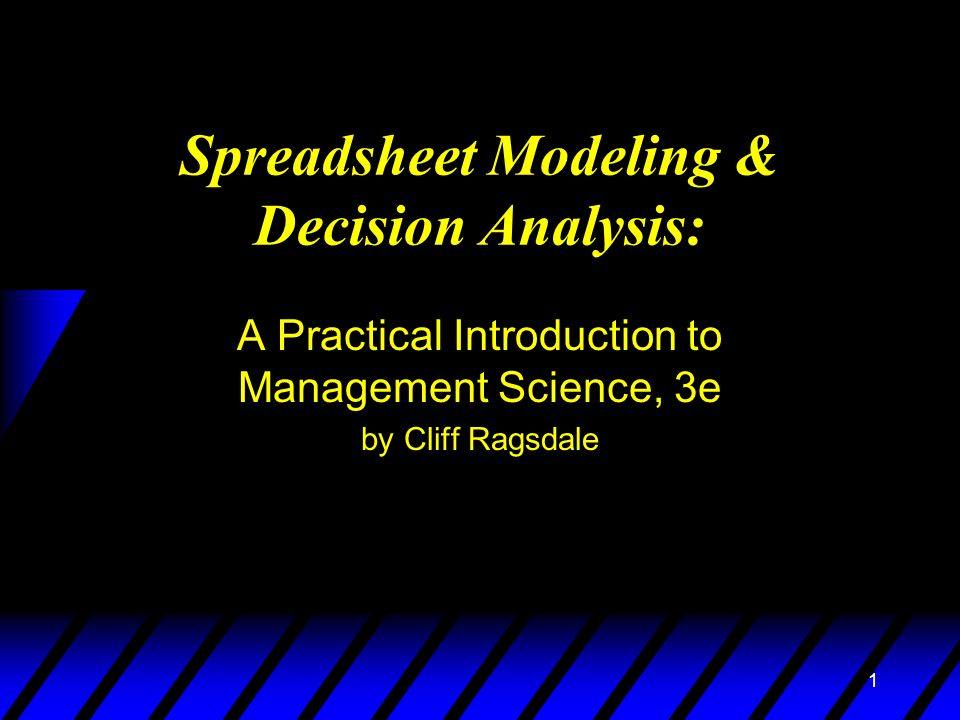 spreadsheet modeling and decision analysis This page lists articles published in ite that focus on spreadsheet modeling   keywords: teaching decision analysis, spreadsheet modeling, classroom games, .