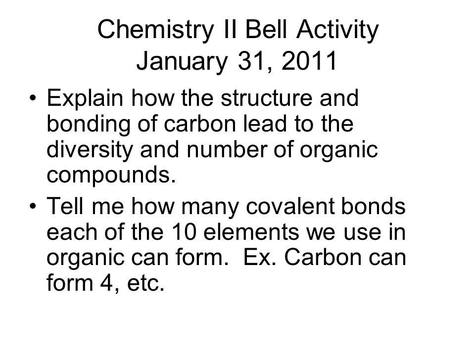 Bell Activity Chem II January 3, ppt download