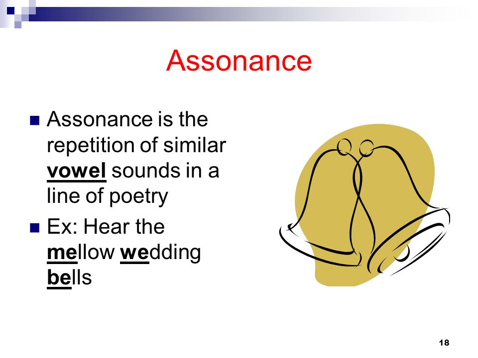 Assonance Assonance is the repetition of similar vowel sounds in a line of poetry.
