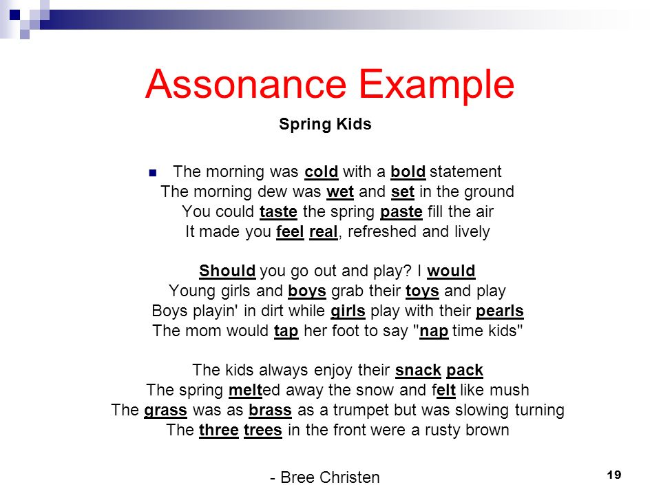 Assonance Example Spring Kids
