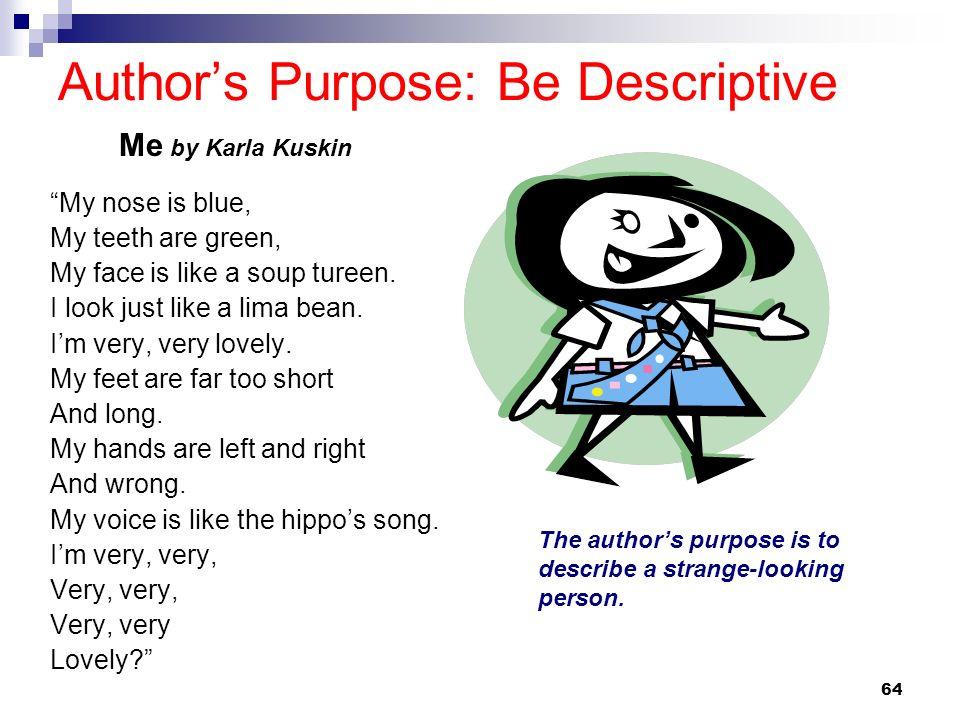 Author's Purpose: Be Descriptive