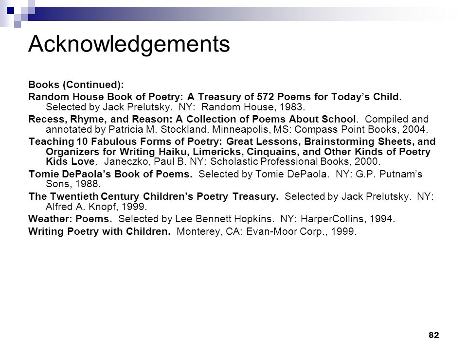 Acknowledgements Books (Continued):
