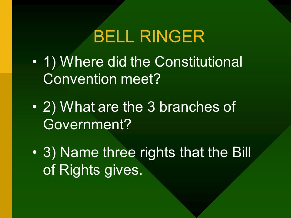 BELL RINGER 1) Where did the Constitutional Convention meet