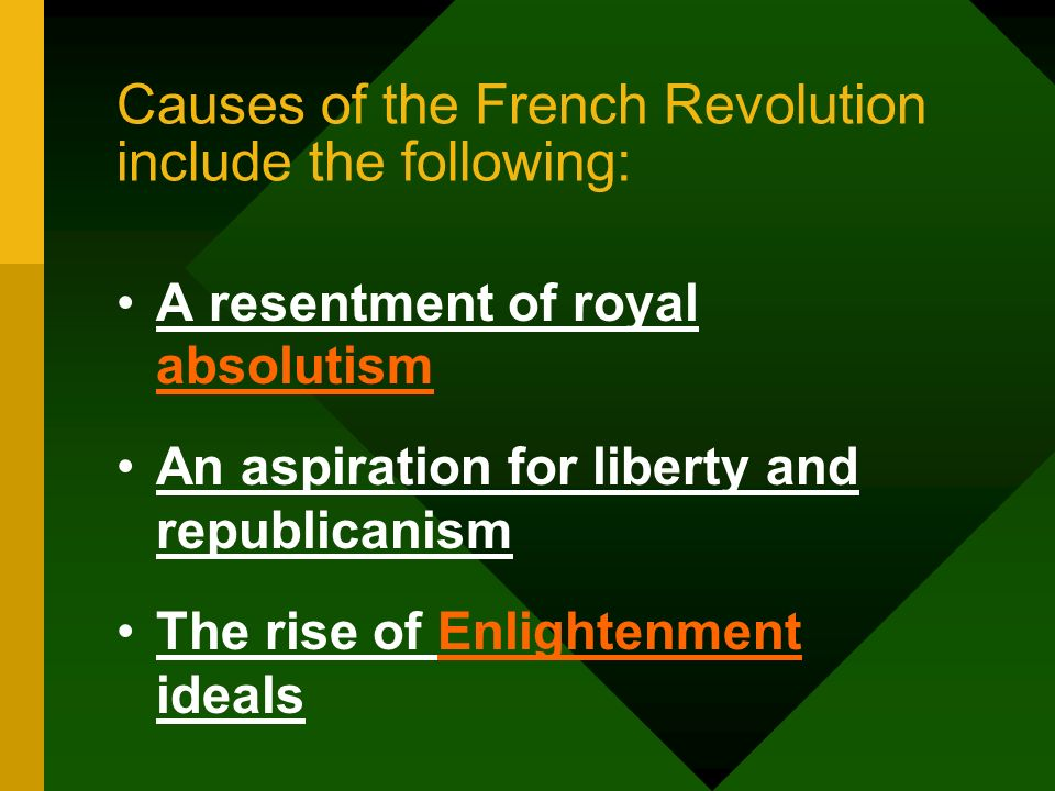 Causes of the French Revolution include the following: