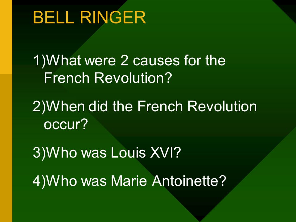 BELL RINGER 1)What were 2 causes for the French Revolution