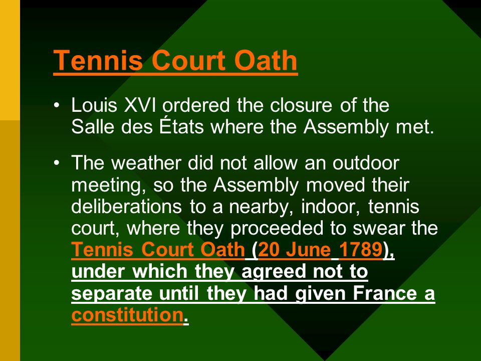 Tennis Court Oath Louis XVI ordered the closure of the Salle des États where the Assembly met.