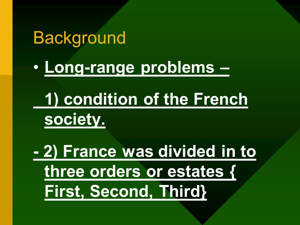 Background Long-range problems – 1) condition of the French society.