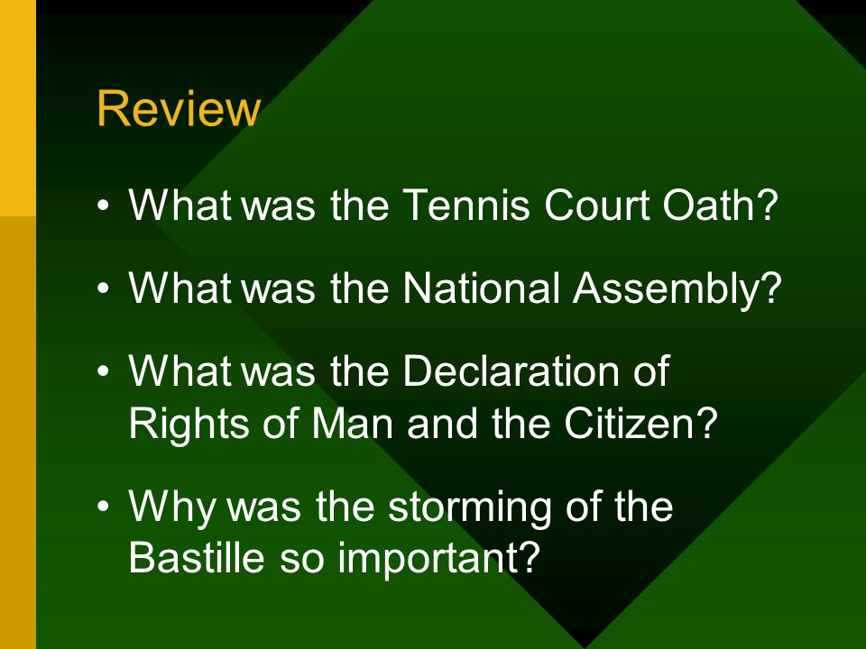 Review What was the Tennis Court Oath What was the National Assembly