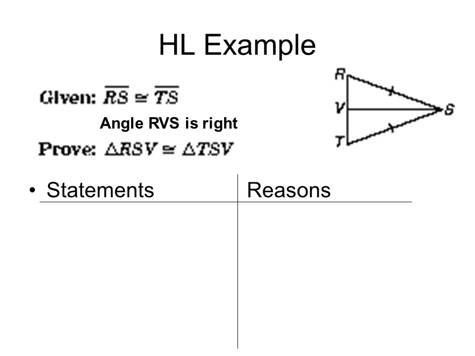 HL Example Statements Reasons Angle RVS is right