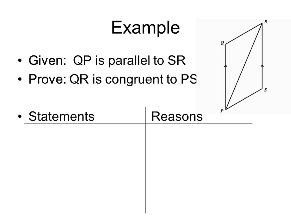 Example Given: Prove: Statements Reasons Given: QP is parallel to SR