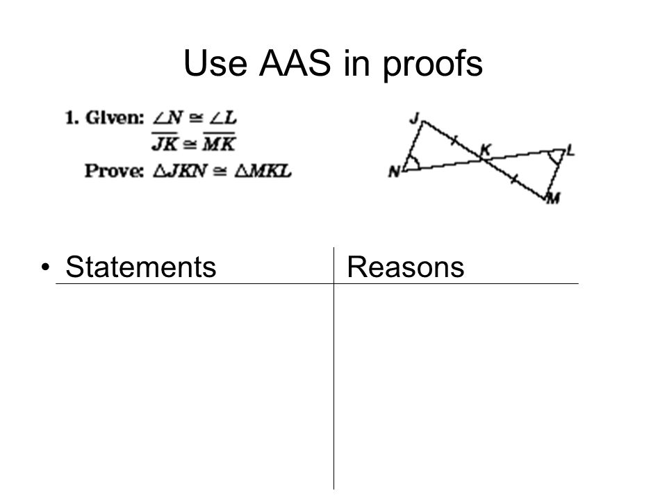 Use AAS in proofs Given: Prove: Statements Reasons