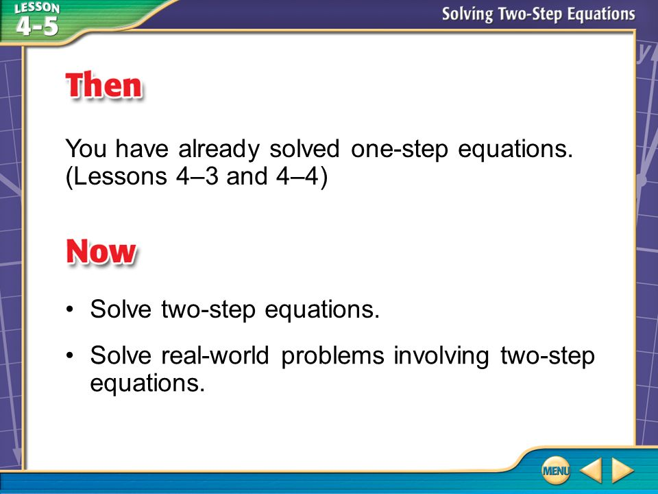 You have already solved one-step equations. (Lessons 4–3 and 4–4)