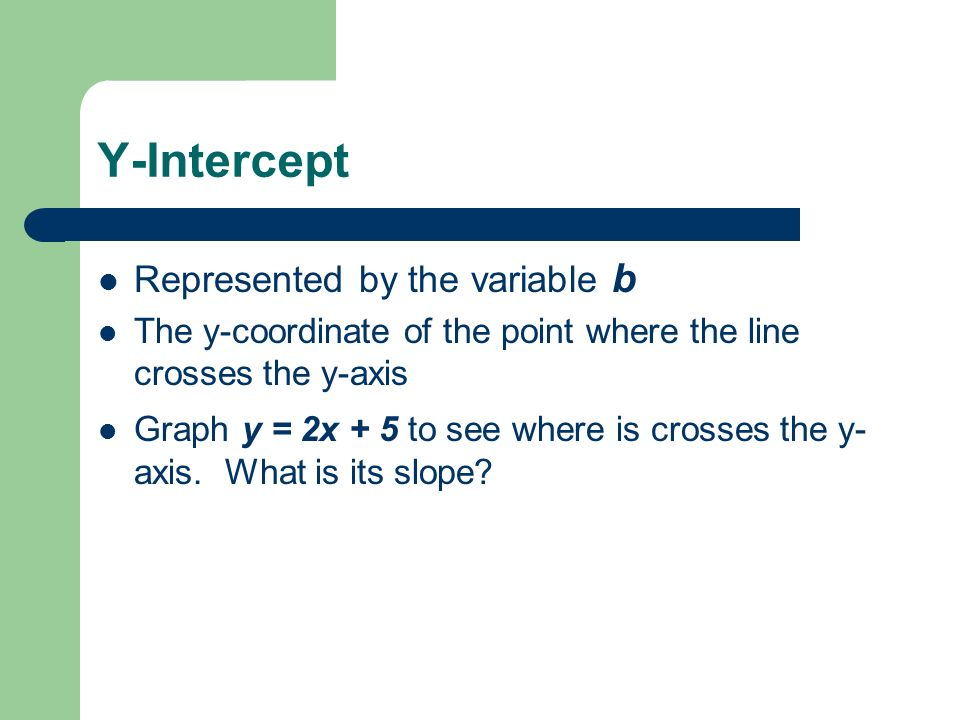 Y-Intercept Represented by the variable b