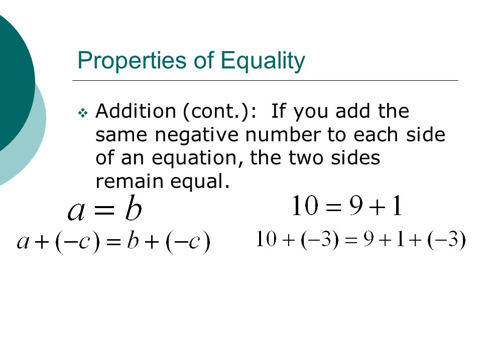 Properties of Equality