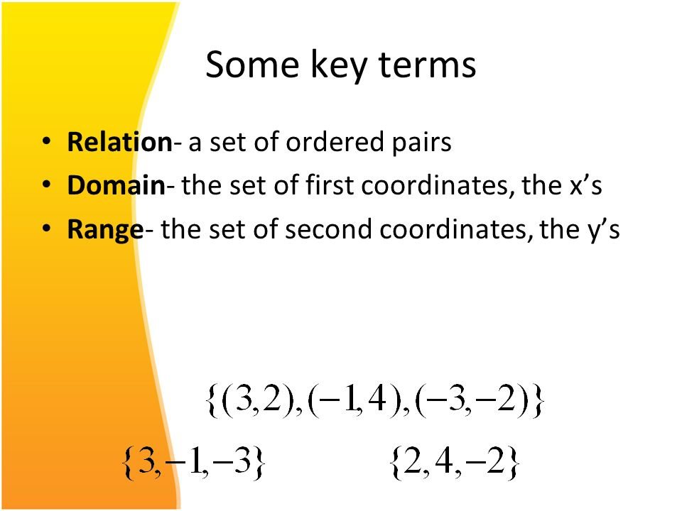 Some key terms Relation- a set of ordered pairs