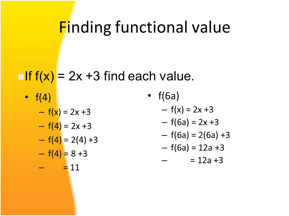 Finding functional value