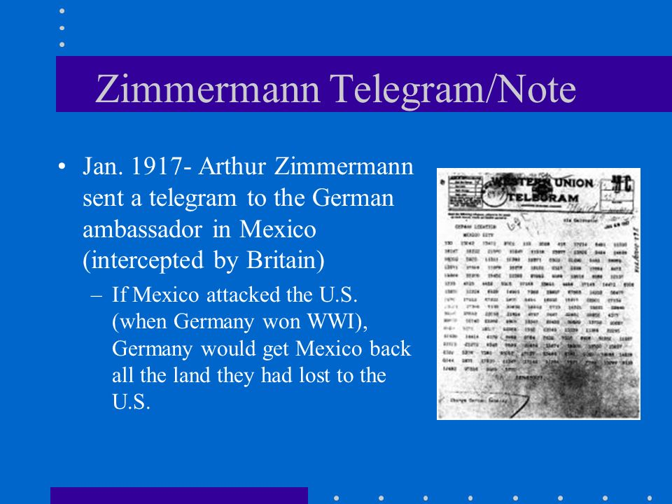 Zimmermann Telegram/Note