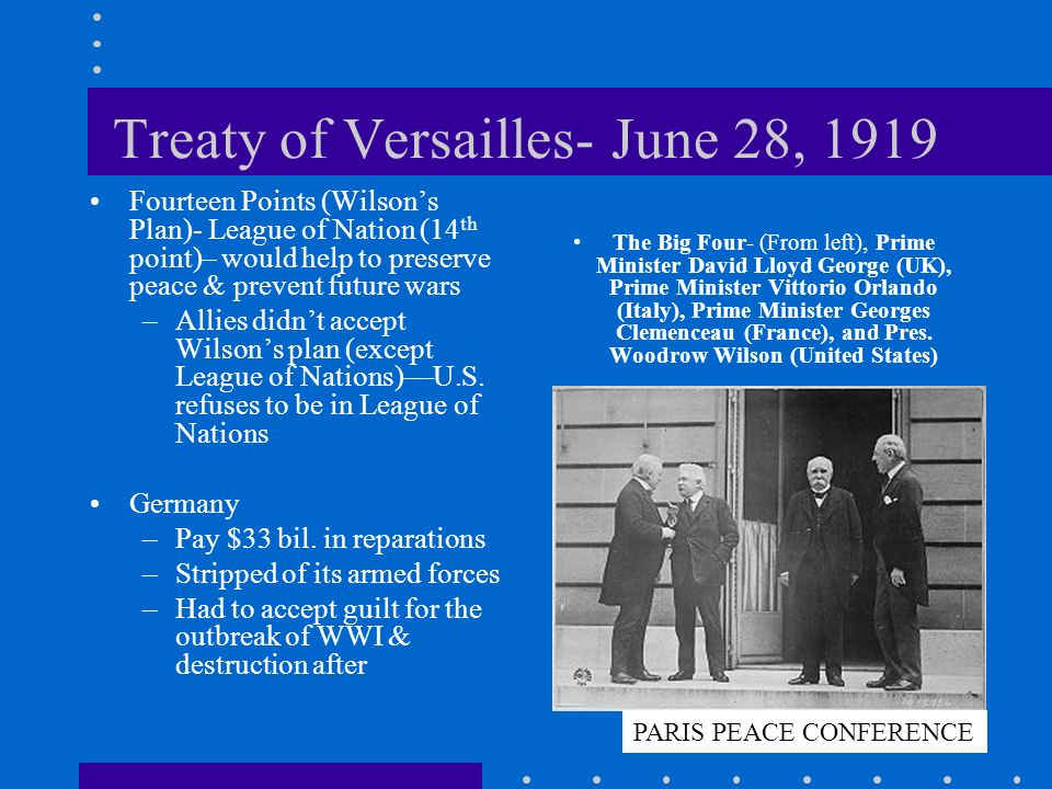 Treaty of Versailles- June 28, 1919