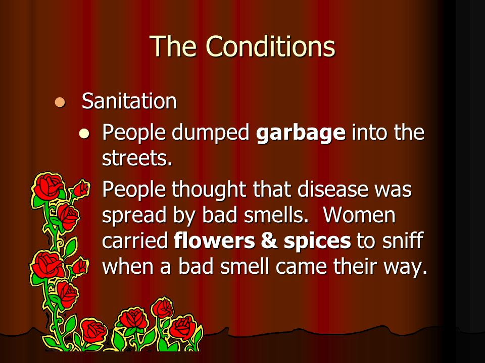 The Conditions Sanitation People dumped garbage into the streets.