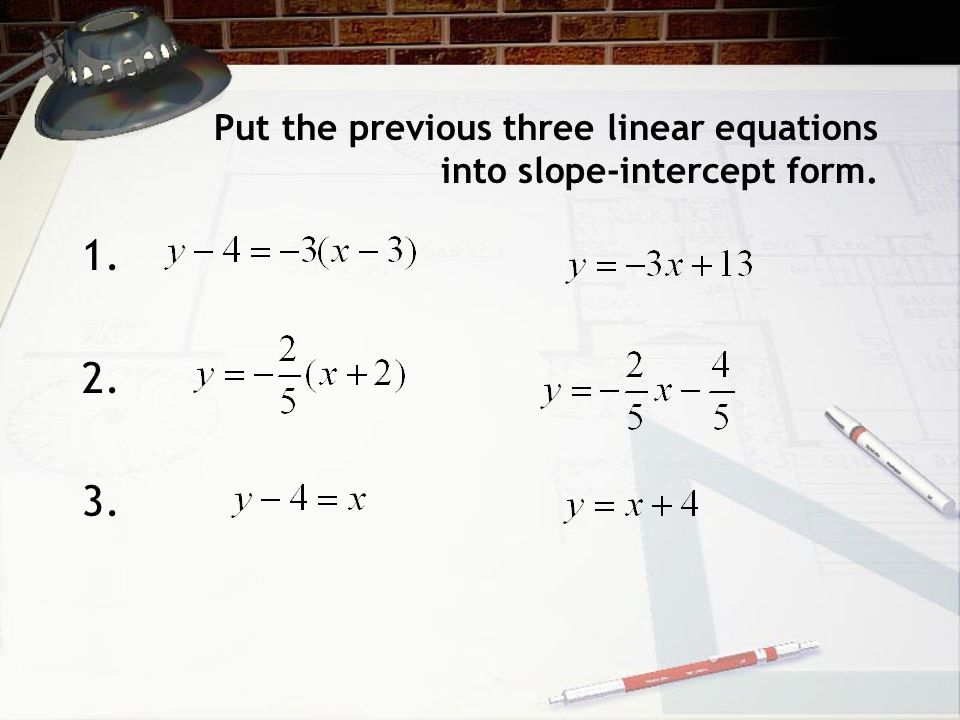 Put the previous three linear equations into slope-intercept form.