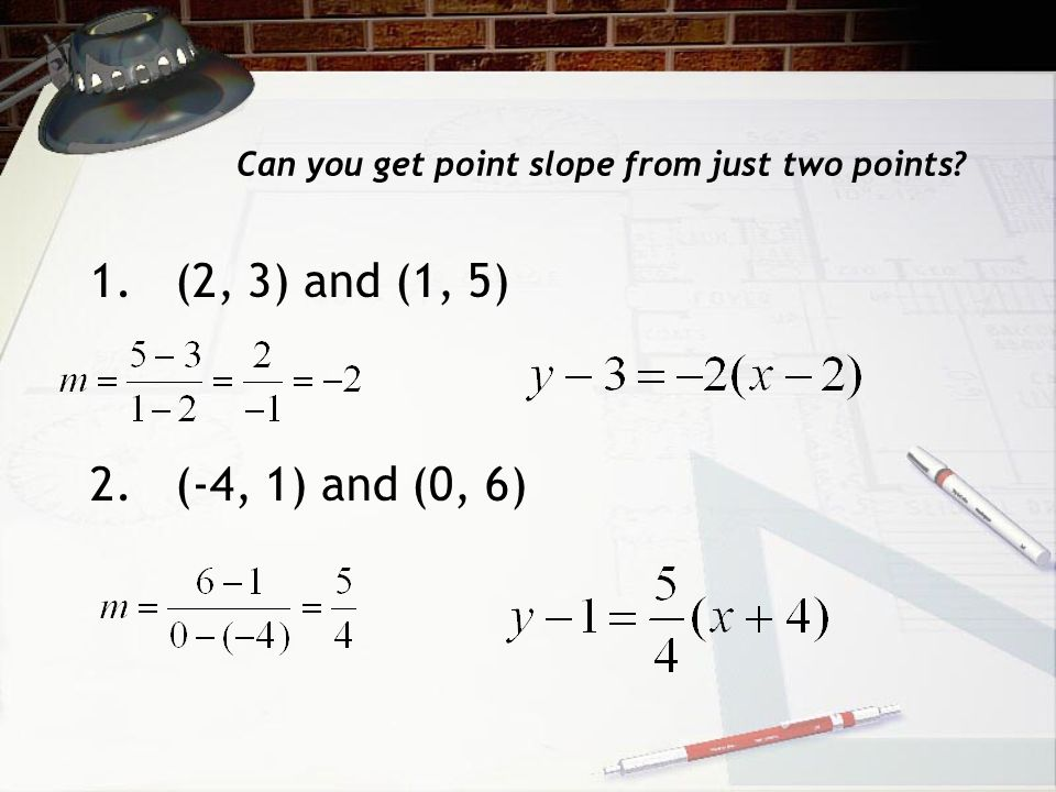 Can you get point slope from just two points