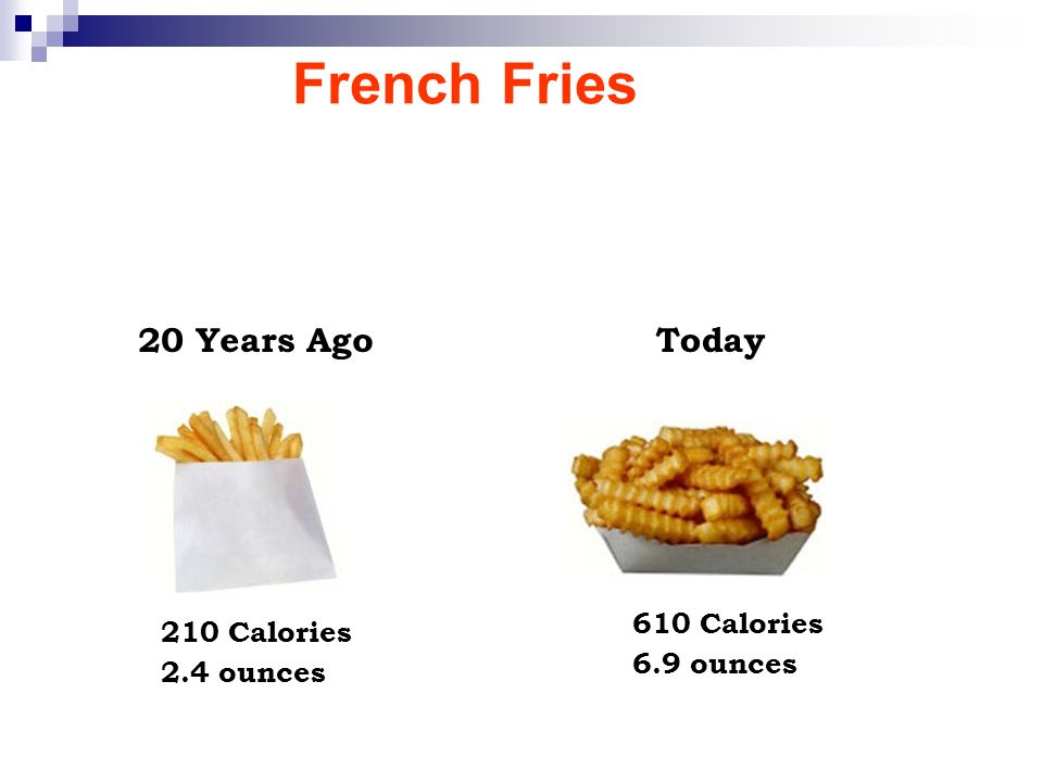 French Fries 20 Years Ago Today 610 Calories 210 Calories 6.9 ounces